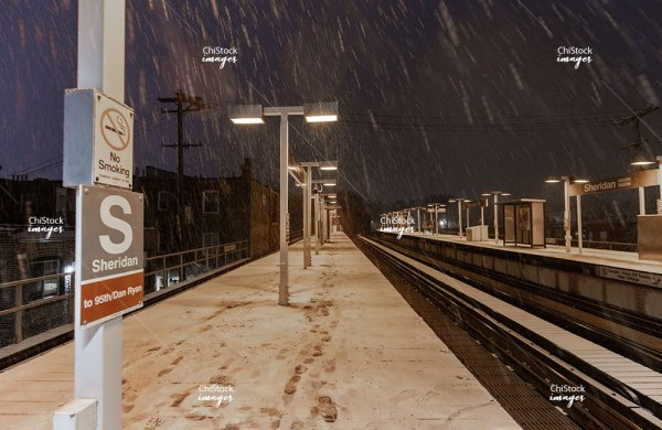 Empty Sheridan CTA L Platform on a Winter Night in Lake View Chicago
