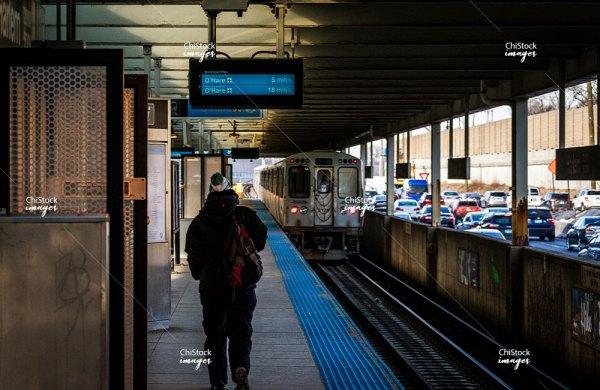 Harlem Blue Line CTA L Platform on a Winter Morning in O'Hare Chicago