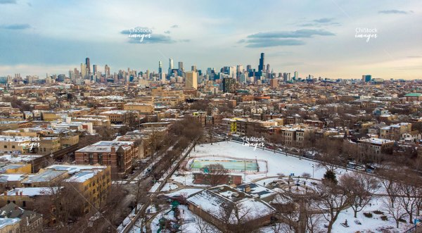 Aerial View Above Wicker Park in West Town Chicago