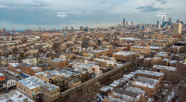Aerial View of CTA Blue Line in West Town Chicago