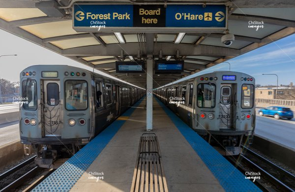 Empty CTA Blue Line Platform Kennedy Expressway in Irving Park Chicago