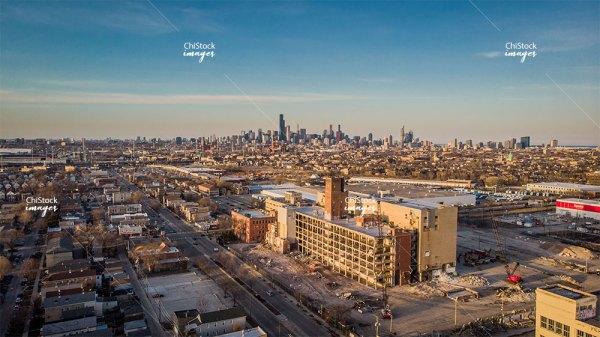 Aerial View of Wrigley Gum Factory Demolition in McKinley Park Chicago