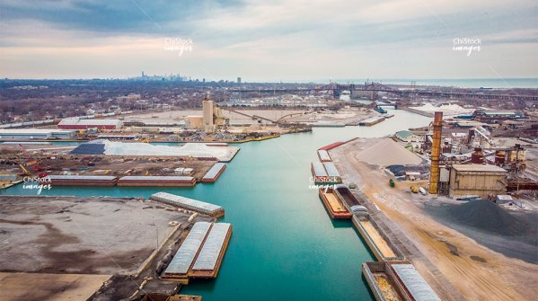 Aerial View of the Calumet River Industrial Area East Side Chicago