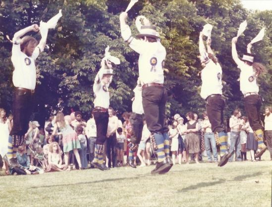 50 years of Green Days 1979 morris dancers mid-air
