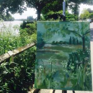 2017 Artists at Home Annie Meier - Chiswick Eyot with easel