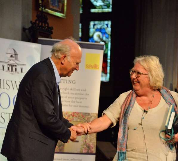Torin Douglas MBE Vince Cable MP with political journalist Julia Langdon 2015 Chiswick Book Festival