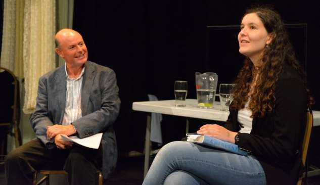 Torin Douglas MBE interviewing young author Helena Coggan at the 2015 Chiswick Book Festival