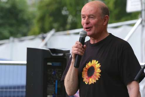 Torin Douglas MBE on microphone at Green Days