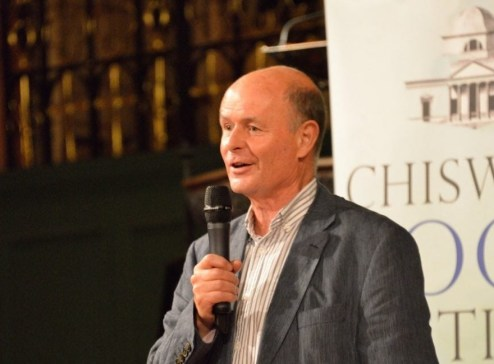 Torin Douglas MBE on stage at the Chiswick Book Festival