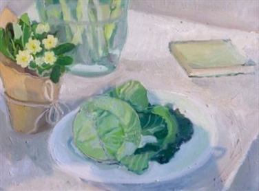 2015 Artists at Home Caroline Mauduit 1, Cabbage and primroses