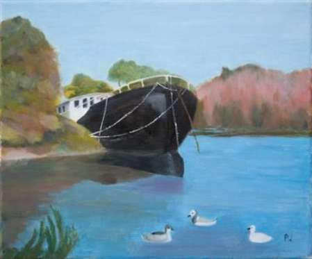 2015 Artists at Home Patricia Wyndham, Barge on the Thames at Chiswick