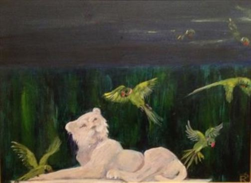 2015 Artists at Home Romaine-Dennistoun 2, Chiswick Lion & Parakeets