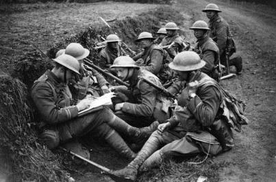 Soldiers in a trench - First World War Centenary