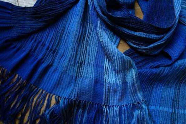 Silk & Wool Blue Shawl by Bobbie Kociejowski