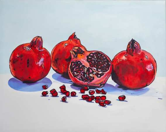 Pomegranates Oil on canvas. Unframed size (W X H): 76cm x 61cm) by Debbie Pearce.