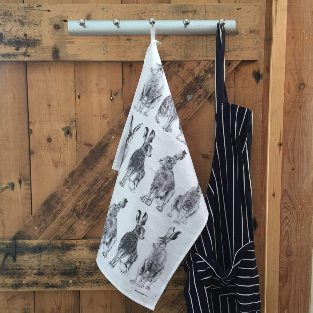 Hanging hare tea towel