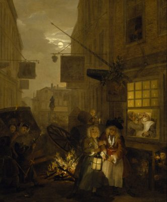 Oil painting on canvas, The Four Times of Day: Night, by William Hogarth (London 1697 - London 1764), 1736. A moonlight scene in a narrow lane leading from Whitehall to Charing Cross, with the Rummer Tavern ('The New Bagnio') (a brothel) on one side, the Cardigan's Head on the other (both served as Masonic lodges) and at the end of the street the Golden Cross Inn and the equestrian statue of Charles I by Hubert Le Sueur in the distance. Bonfires have been lit in celebration of Restoration Day/Oak-Apple Day, 29 May, Charles II's birthday and his escape on 3 September 1651. The Salisbury Flying Coach has been upturned. Left, two men, one of whom fires off a pistol, stand watching the efforts of the passengers to extricate themselves. In the foreground towards the right a Freemason - by tradition representing Sir Thomas de Veil (d. 1747) - is supported home; further to the right the interior of a barber-surgeon's shop is seen through a window and man is being shaved in the middle of the night; above a chamber-pot is being emptied out of the window; figures are huddled asleep beneath the sill, and in the background a man is watering down a vat of beer. The oak leaves decorating the barber-surgeon's striped pole on the facade on the right, indicate that the date is 29 May or 'Oak-Apple Day', which marked the restoration of the Stuart dynasty by Charles II, who claimed the throne in 1660.