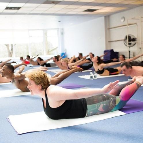 hot yoga chiswick lady doing yoga pose