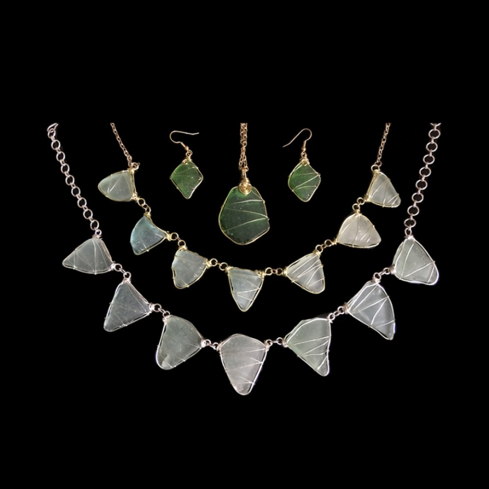 Madeleine Marsh sea glass pendants