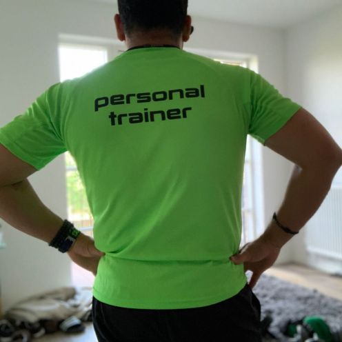 Trans4max personal training chiswick logo on tshirt
