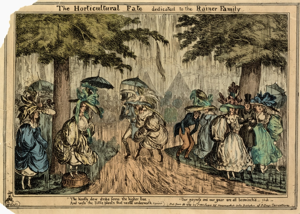 Capture 6 Cartoon showing the rain-soaked flower show at Chiswick Garden in 1828