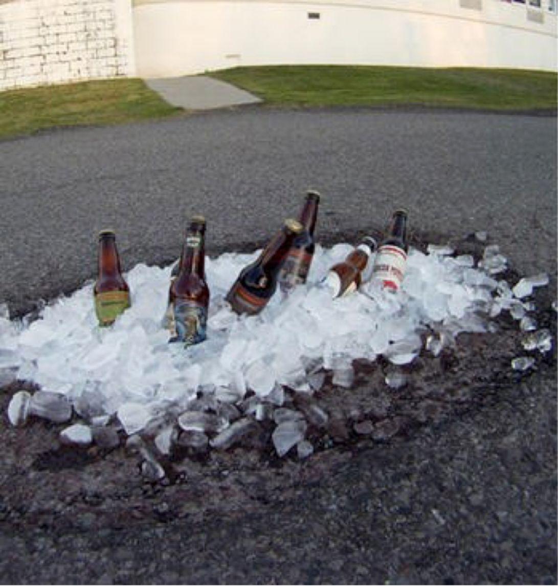 beer in potholes
