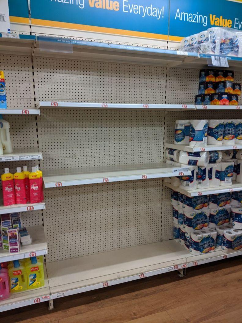 Poundland empty toilet roll shelves