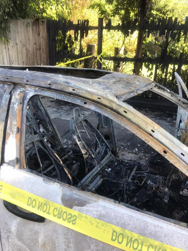 Burnt out car close up