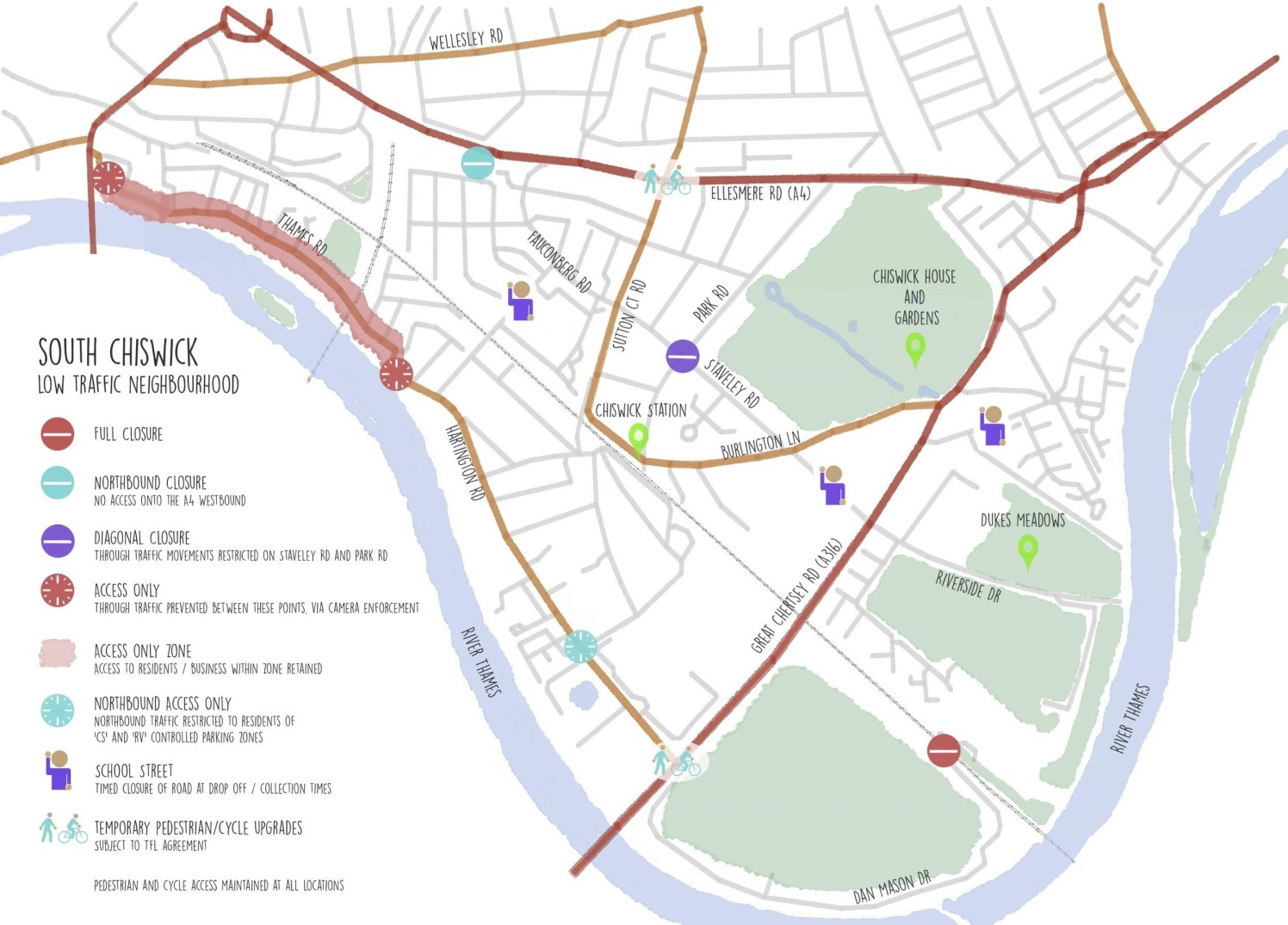 Map of south Chiswick