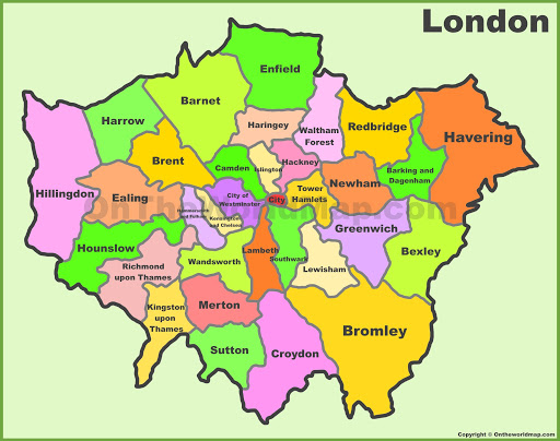 Map of London showing the boroughs