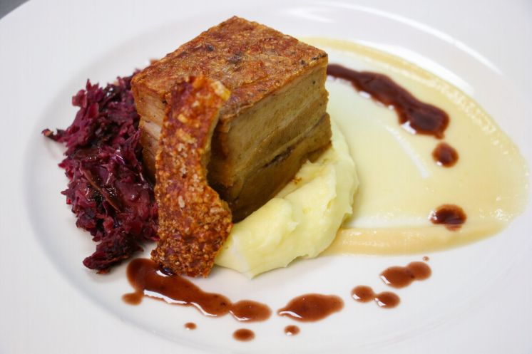 Belly of pork, red cabbagae, creamed smoked potato_web