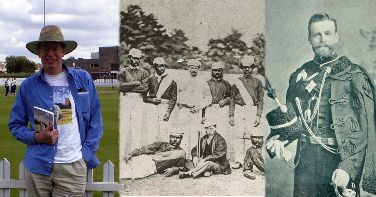 Fraser Simm pictured left, Aboriginal cricket team in England 1868 with Captain & Coach Charles Lawrence (Wikipedia) pictured centre and F A Mackinnon pictured right.