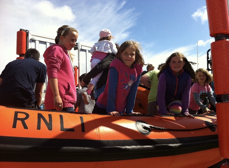 Georgie Canning aboard RNLI craft