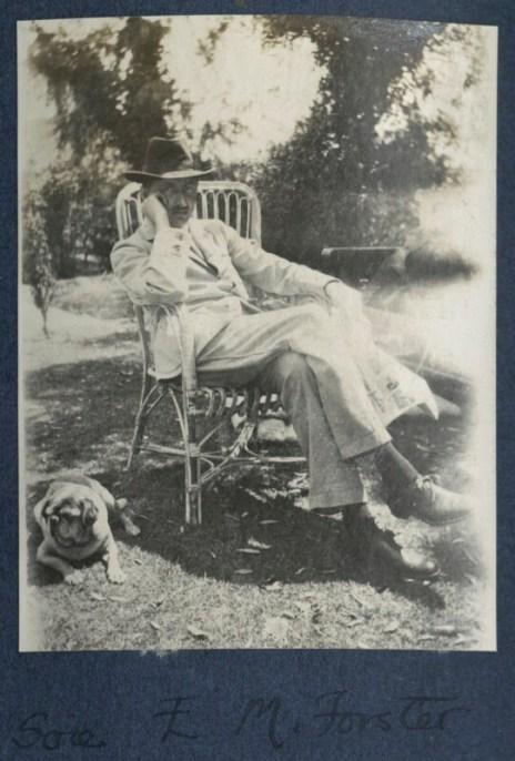 EM-Forster-with-Lady-Ottoline-Morells-pug-Soie