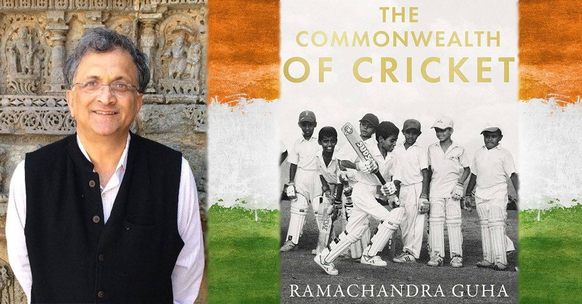Ramachandra Guha pictured left (Credit Twitter) and The Commonwealth of Cricket book pictured right