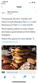 H&F Tweet about Ravenscourt Park Farmers Market