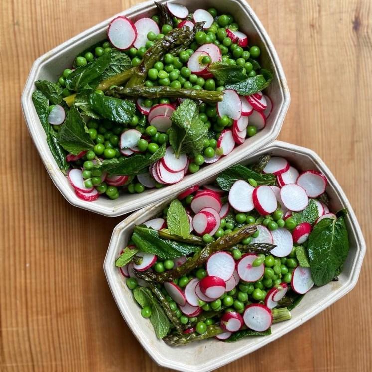Asparagus, pea, radish and mint salad