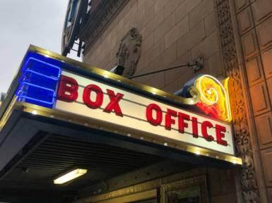 Neon box office sign.
