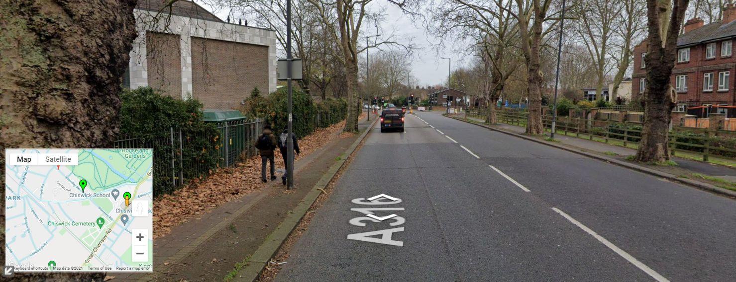 Google Street View A316 outside Chiswick School_web