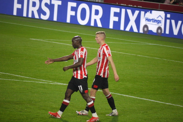 Brentford v Oldham 22.09.21 The two goalscorers Yoane Wissa and Marcus Forss