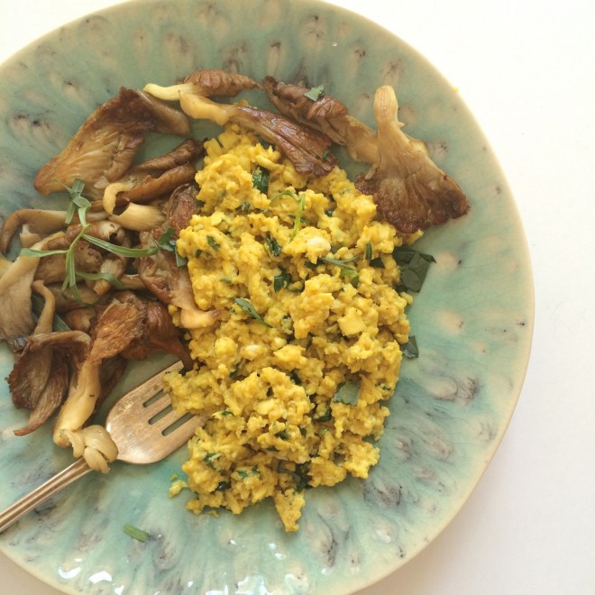 Soft Golden Scramble With Tarragon & Oyster Mushrooms
