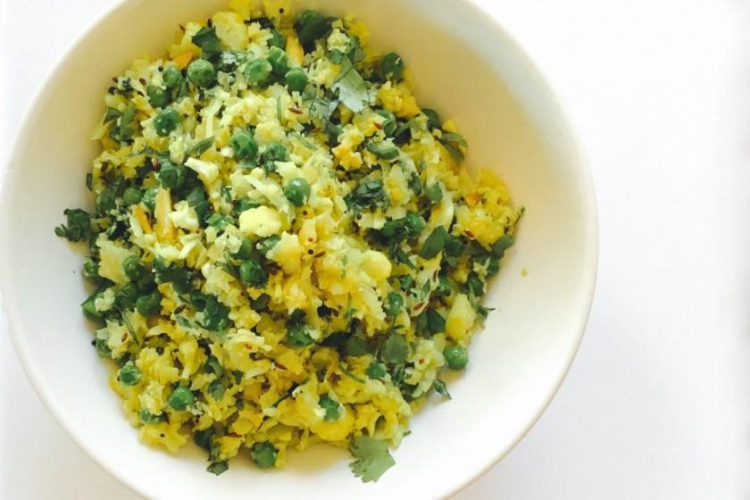 "Cauliflower ""rice"" & Peas Pilaf #chitchaatchai"