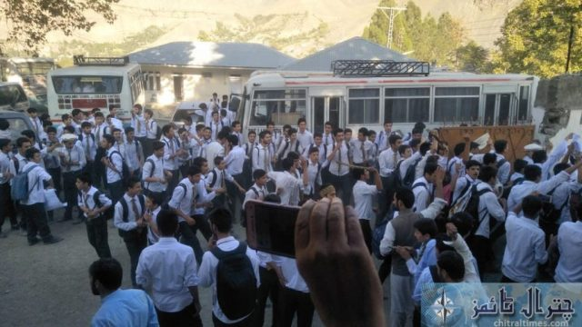 Students and teachers of the langland school and college chitral protest against Miss carry 5