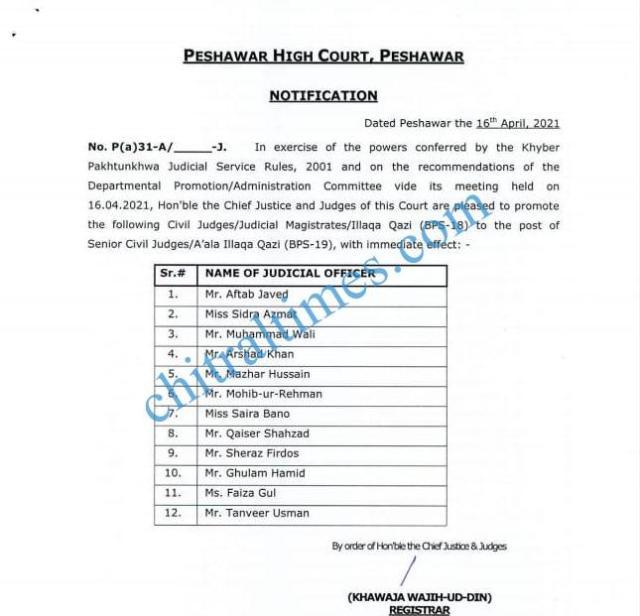 senior civil judges kp promotions