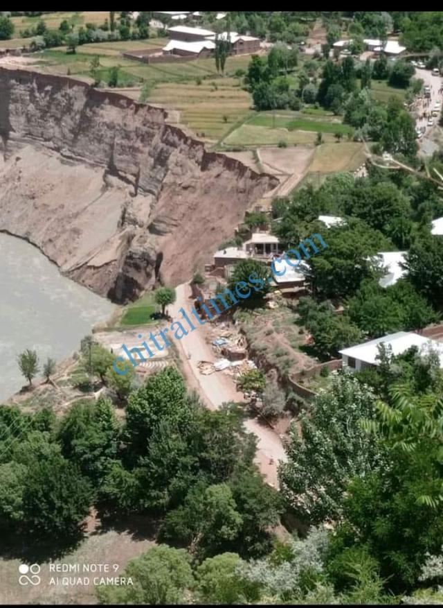 chitraltimes reshun river erosion washed away chitral mastuj road