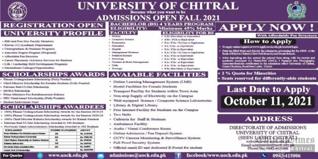 chitral university admission open
