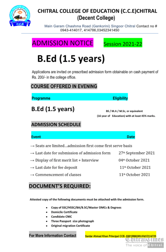 chitraltimes admission open B Ed