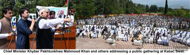 chitraltimes cm kp and murad saeed minister info addresing at kabal swat