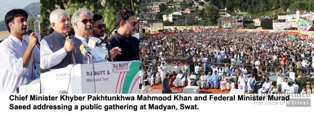 chitraltimes cm kp inaugurated development projects in swat with murad saeed