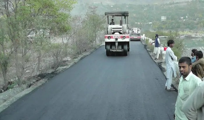 Blacktopping of Chitral airport road underway